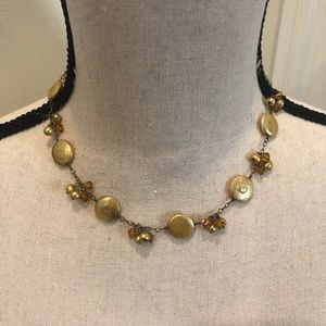 Delicate gold and orange/amber bead necklace